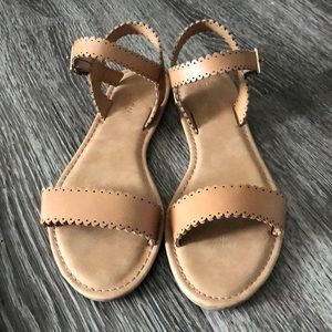 Bamboo Scallop Sandals-tan-size 6